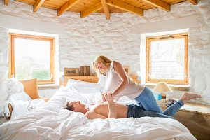 couple bedroom playful